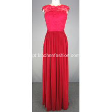 Red Evening Prom Dresses com Top em renda