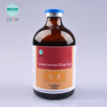 Tylosin Tartrat 5% Injektion, behandeln Lungenentzündung Bronchitis durch Mykoplasmen Mycoplasma und Pasteurella verursacht