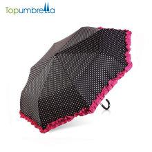 Модное 3 складной женщины зонтик красивая точек