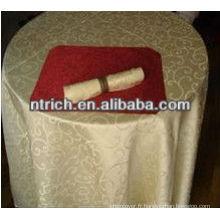 Nappe jacquard polyester, utilisé pour les tables de l'hôtel, bonne qualité nappes