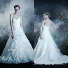 Romance Handmade Flower Sweetheart A Line Beads Chapel Train Wedding Dress Bridal Gown