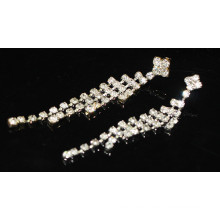 2015 Moda nupcial al por mayor de plata colgante largo Pendientes de perlas de cristal