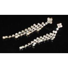 2015 Fashion Wholesale Bridal Silver Long Hanging Crystal Stud Earrings