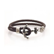 Custom Black Statement Anchor Leather Bracelet, Stainless Steel Anchor Leather Bracelet