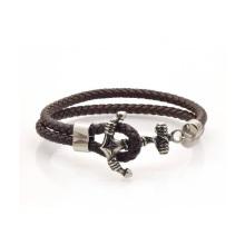 Bracelete de couro preto feito sob encomenda da âncora da indicação, bracelete de aço inoxidável do couro da âncora