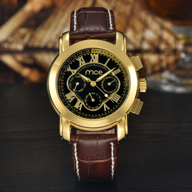 2017 new brown leather band watches men
