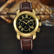 Golden black dial ladies casual sport watch