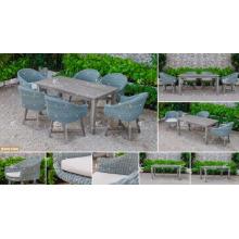 COLLECTION CANARIENNE - Résistance aux rayons UV Meubles de jardin en plein air Poly PE Rattan Table à manger et 6 chaises 2017 Meilleures ventes