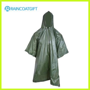 Waterproof PVC Army Rain Poncho (RVC-022)