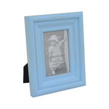 Distressed Blue Wooden Photo Frame for Desktop Decoration