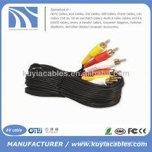 Cable recubierto de oro Cable triple de 3-RCA compuesto AV Cable de audio y video Cable de audio