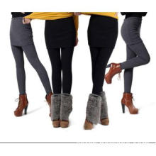 Women Pleated Over Hip Skirt-Long Pants Ladies Fleece Trousers Winter