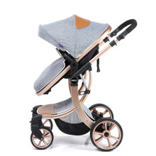 Landau doré multifonctionnel de marque de luxe avec roues en Pu pour les bébés de la naissance à l'enfant en bas âge