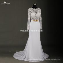 RSW723 Sexy ver a través de corsé de manga larga de encaje de gasa vestido de novia venta