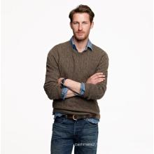 Chandail de pull en cachemire tricoté par câble homme