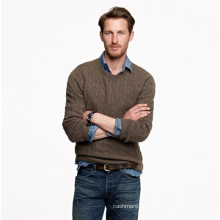 Men's cable knitted cashmere pullover sweater