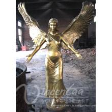 Statue en métal d'ange de taille de la vie de métier en métal plaqué à vendre