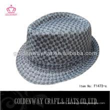 Negro comprobado fedora sombrero camuflaje poliéster tela escocesa guapo estilo borsalino modelo fábrica venta