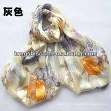 100% silk shawl with flower printing for fashion lady