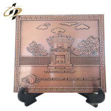 New design products square emboss brass bronze metal souvenir plate holder