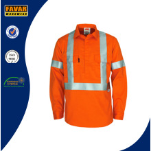 Hi Vis Seguridad Reflectante Fire Retardant Cotton Drill Chaqueta de Trabajo