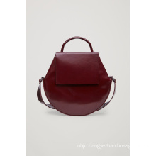 Polished Leather Round Leather Shoulder Bag