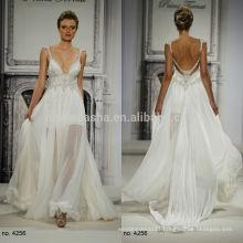 Pnina Tornai 2014 Chiffon A-Line Wedding Dress Spaghetti Straps Backless Crystal Long Garden Bridal Custom Made NB0662