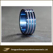 Stainless Steel Blue IP Centered Three Band Combination 7.5mm Ring (ZY-A74)