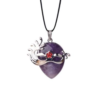 Fashion Jewellery Gemstone Amethyst Mask Pendant Necklace