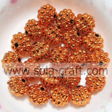10MM Tangerine Color Fantastic Berry-Shaped Plastic Beads For Finding
