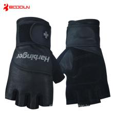 Mens Black Leather Fingerless Sport Gloves (HBD140)
