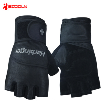 Mens Black Leather Fingerless Sport Gloves (HBD140)