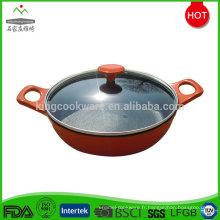 wok chinois en fonte émaillée avec couvercle transparent