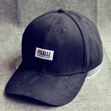 Plain Suede Woven Label Baseball Cap