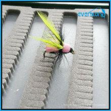 Les mouches populaires jaunes et grises par fait
