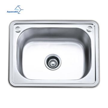 Aquacubic 21.6 inch Kitchen Fixtures Rectangular Single Bowl Pressed Drawn 201 Stainless Steel Kitchen Sink