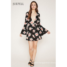 Fashion Deep V Neck Floral Print Horn Sleeve Dress