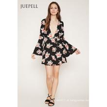 Moda v profundo pescoço vestido de chifre de impressão floral manga