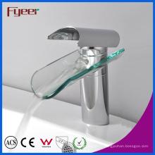 Robinet de mélangeur d'eau de robinet de lavage de bassin de poignée et de trou unique de cascade de verre de Fyeer