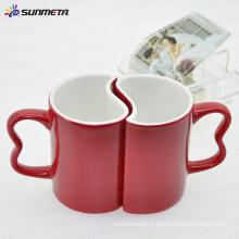 11oz rouge magique changement de couleur sublimation vide tasse de couple