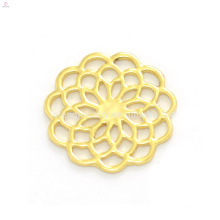Stylish design 22mm gold zinc alloy flower window floating charm clear glass locket pendants plates wholesale
