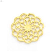 Design elegante 22mm liga de zinco ouro flor janela flutuante charme medalhão de vidro transparente pingentes placas atacado