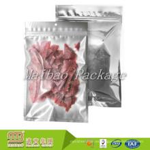 Tamaño barato de encargo de la fábrica Tamaños de encargo Embalaje de la comida Material laminado Front Clear and Back Foil Ziplock Bags