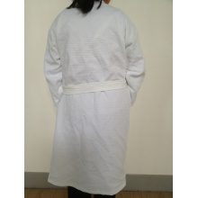 100%Cotton Summer Snow White Shawl Collar Waffle Bathrobe