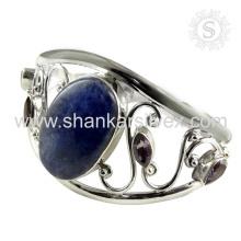 Glittering multi gemstone bracelete de prata 925 prata esterlina joalheria jóias atacadista
