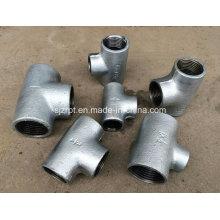 Plain galvanizado Tee acessórios de tubulação de ferro maleável