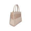 Tote bag in pelle con design scolpito a mano