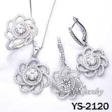 Micro Pave 925 Sterling Silver Flower Jewelry Set (YS-2120)