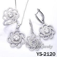 Набор ювелирных изделий цветка стерлингового серебра 925 Micro (YS-2120)