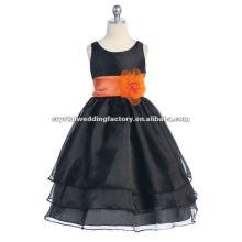 Véritable fermeture à glissière à centre zircale noir avec ceinture en orange 3 niveaux jupe Robes habillées faites sur mesure pour fille à fleurs CWFaf4276